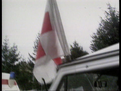 croatia aid convoy; itn yugoslavia: croatia: vinkovci: extside lorry convoy parked as air raid siren heard sof more vehicles in convoy and three... - air raid siren stock videos & royalty-free footage