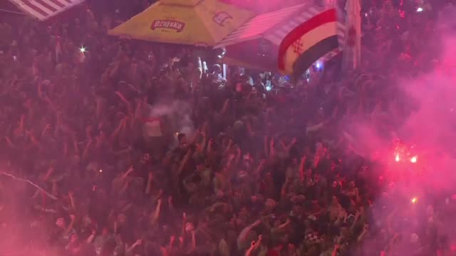 croatia fans at a fanzone in zagreb burst into celebration as their team reaches the world cup final for the first time ever with a 21 win over... - first occurrence stock videos & royalty-free footage