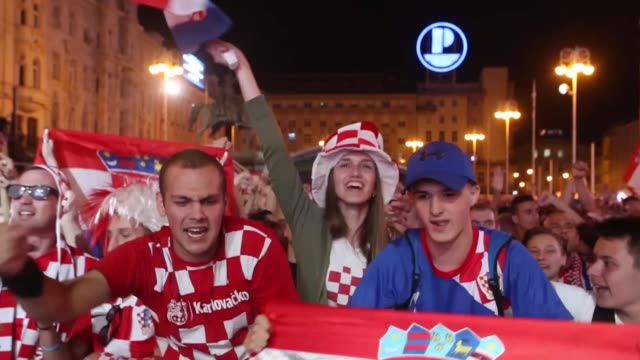 croatia fans celebrate at jelacic square after their team advanced to the quarterfinals at the 2018 fifa world cup russia on july 01 2018 in zagreb... - fifa world cup 2018 stock videos & royalty-free footage