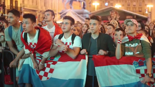 Croatia fans celebrateafter their team advanced to the Round of 16 at the 2018 FIFA World Cup Russia on June 26 2018 in Zagreb Croatia