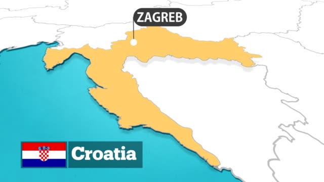 vídeos y material grabado en eventos de stock de mapa de croacia con bandera - croacia