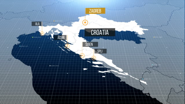 croatia map with label then with out label - croazia video stock e b–roll