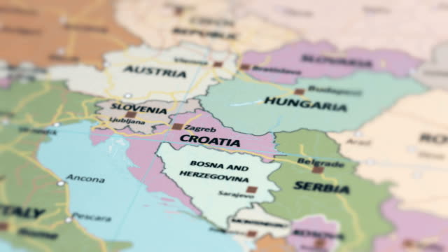 europe croatia on world map - croazia video stock e b–roll