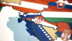 Croatia with National Flag on World Map