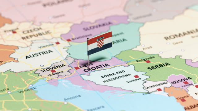 croatia with national flag - croazia video stock e b–roll
