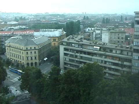 croatia: zagreb city skyline and tram, streetcar, trolley - zagreb stock videos & royalty-free footage