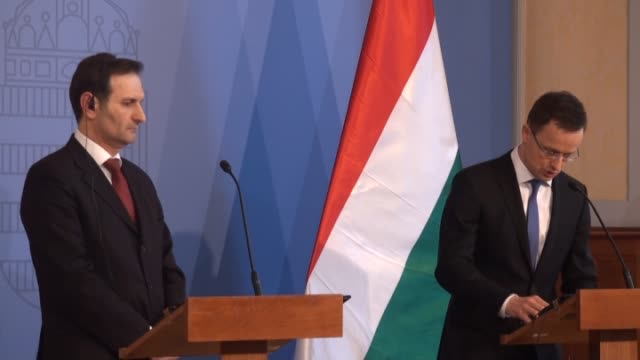 croatian foreign minister miro kovac and hungarian minister of foreign affairs and trade peter szijjarto hold a joint press conference following... - cultura dell'europa dell'est video stock e b–roll