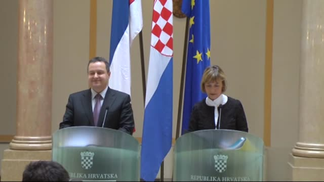 croatian foreign minister vesna pusic holds a joint press conference with serbian counterpart ivica dacic in zagreb on march 11 2015 dacic arrived in... - zagreb stock videos & royalty-free footage