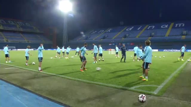 croatian national football team players take part in a training session led by head coach ante cacic at in zagreb croatia on september 04 2016 turkey... - world cup qualifying round stock videos and b-roll footage