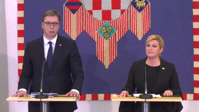 croatian president kolinda grabar kitarovic and her serbian counterpart aleksandar vucic hold a joint press conference following their meeting in... - zagreb stock videos and b-roll footage