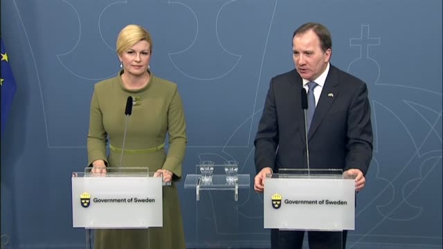 Croatian President Kolinda GrabarKitarovic and Swedish Prime Minister Stefan Lofven meet and hold a joint press conference at the Swedish government...