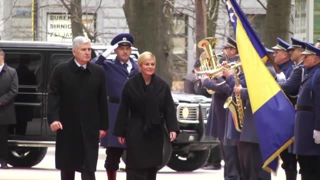 Croatian President Kolinda GrabarKitarovic is welcomed by Chairman of Bosnia and Herzegovina's tripartite Presidency Dragan Covic with the Bosnian...