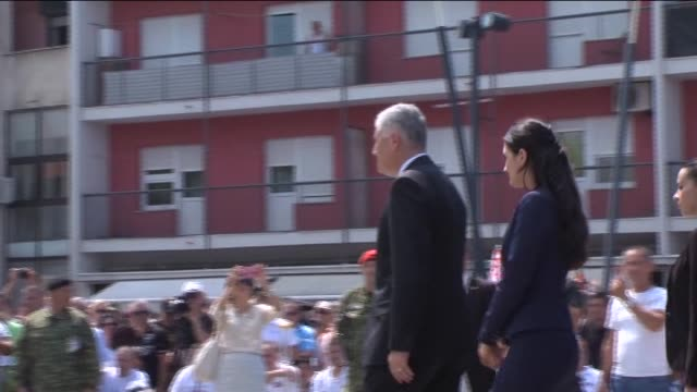 croatian president kolinda grabarkitarovic lays a wreath during a ceremony to mark the 20th anniversary of operation storm in knin croatia on august... - 20th anniversary stock videos & royalty-free footage