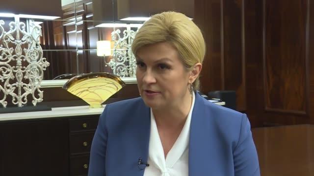 Croatian President Kolinda GrabarKitarovic speaks at an interview following a meeting with her Turkish counterpart Recep Tayyip Erdogan on January 09...