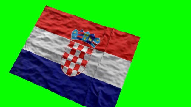 croatian stadium flag. waving on green screen - eastern european culture stock videos & royalty-free footage