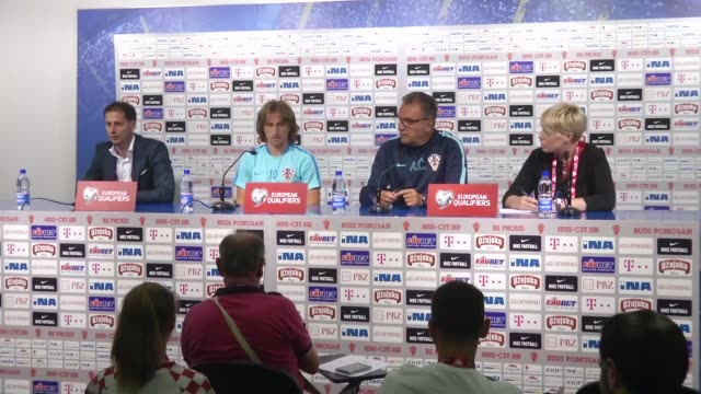 croatia's head coach ante cacic and midfielder luka modric attend a press conference in zagreb croatia on september 04 2016 croatia will face turkey... - world cup qualifying round stock videos and b-roll footage