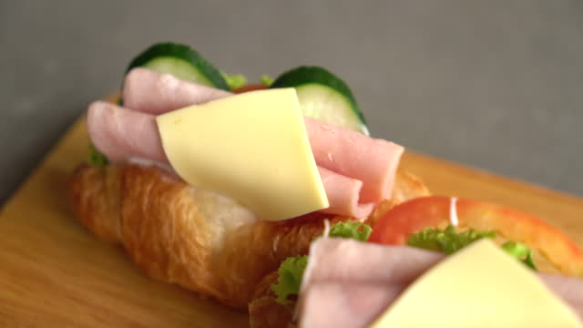 croissant ham cheese sandwich