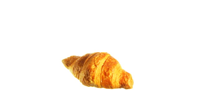 croissant spinning and rotating isolated on white background food suspended in the air - french food white background stock videos & royalty-free footage