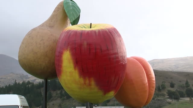 cromwell central otago welcome sign and giant fake pear apple and apricot fruit sculpture at the entrance to the town of cromwell in the south island... - entrance sign stock videos & royalty-free footage