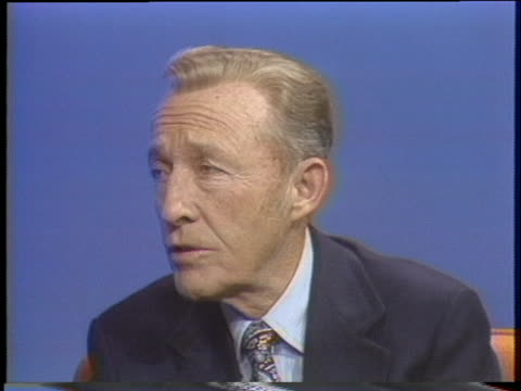 """crooner bing crosby talks about his biggest-selling song, """"silent night."""" - music or celebrities or fashion or film industry or film premiere or youth culture or novelty item or vacations stock videos & royalty-free footage"""