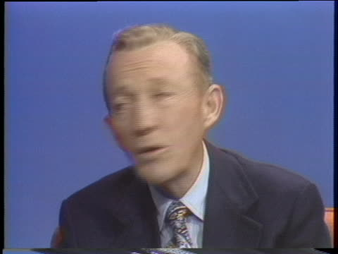 crooner bing crosby talks about his career. - music or celebrities or fashion or film industry or film premiere or youth culture or novelty item or vacations stock videos & royalty-free footage