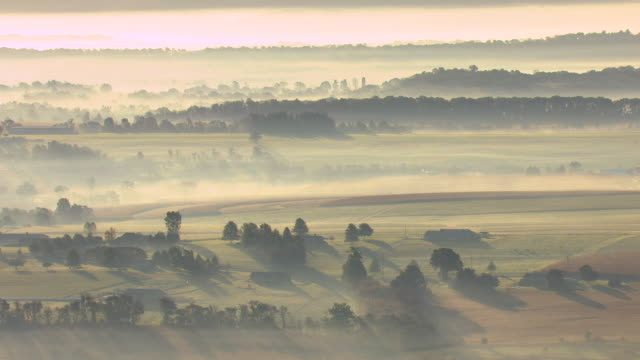 MS AERIAL Crop of fields with mist in air in York County / Pennsylvania, United States