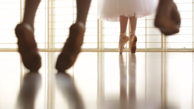 cropped shot cu low angle view of ballerina dancing - ballet shoe stock videos and b-roll footage