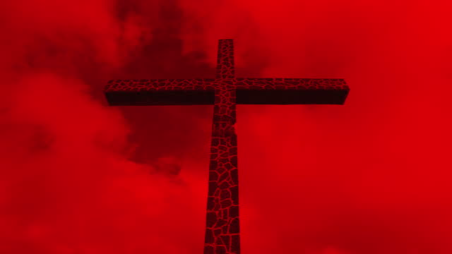 cross in red sky (time lapse) - deterioramento video stock e b–roll