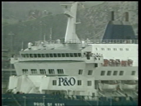 Sealink P O ENGLAND Dover P O ferry 'Pride of Kent' in dock ZOOM IN PAN LR crew members on deck