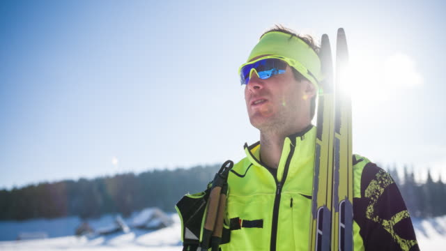 cross country skier in winter landscape - winter sports event stock videos and b-roll footage