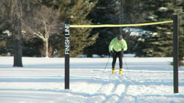 cross country skiing 7 - finishing stock videos and b-roll footage