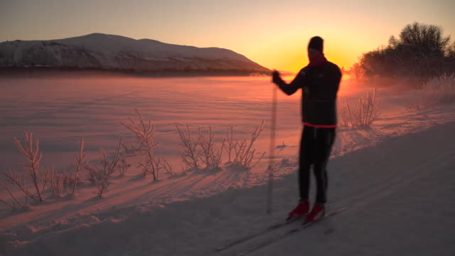 cross country skiing across snow in the norwegian arctic circle - skiing stock videos & royalty-free footage