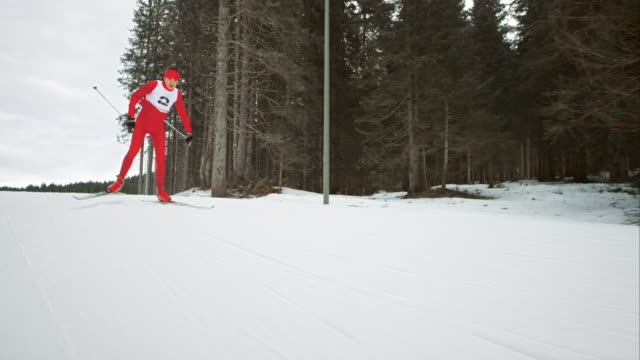 slo mo cross country skiing athlete in skating technique - pokljuka stock videos and b-roll footage