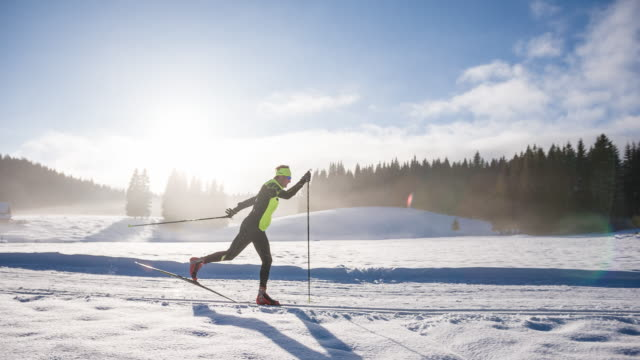 cross country skiing in winter wonderland - winter sport stock videos and b-roll footage