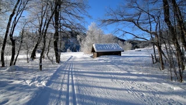 cross country skiing track in winter landscape near lake barmsee, krün, garmisch-partenkirchen upper bavaria, bavaria, germany, european alps - krün stock videos and b-roll footage