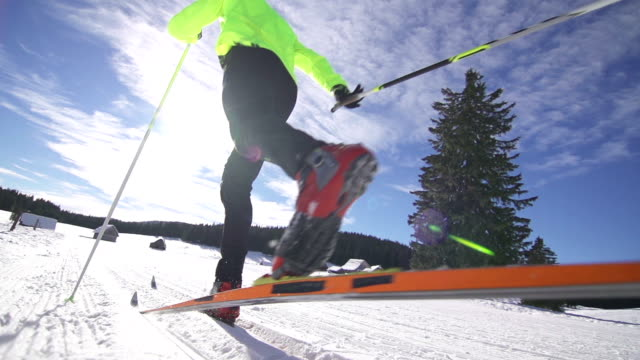 stockvideo's en b-roll-footage met cross country skiing - skiën