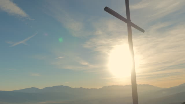Cross cross on the top of the mountain.