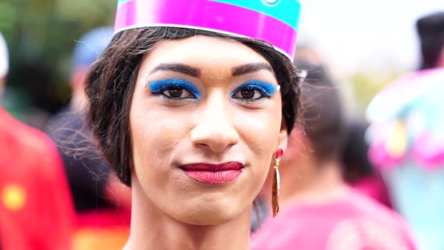 cross dressing man wearing like woman - lesbian stock videos & royalty-free footage