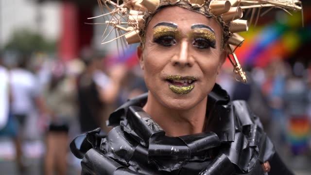 cross dressing man wearing like woman - homosexual stock videos & royalty-free footage