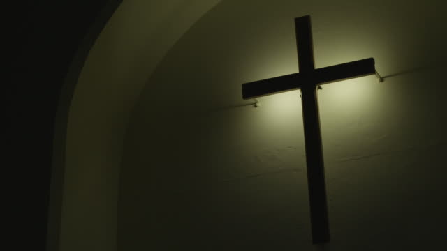 Cross hung on wall in South African church