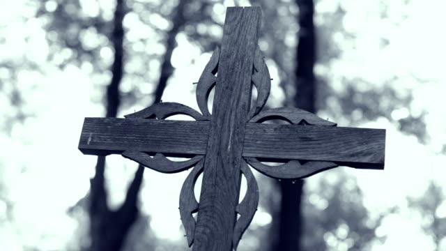 cross in cemetery, trees, lights - viraggio monocromo video stock e b–roll