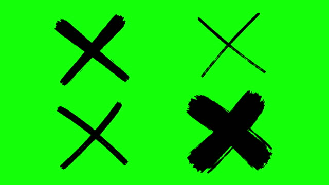 cross mark, x mark, drawing, green screen 4 different styles - letter x stock videos & royalty-free footage