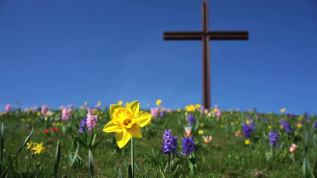 cross on a hill in spring time lapse - ewigkeit stock videos & royalty-free footage