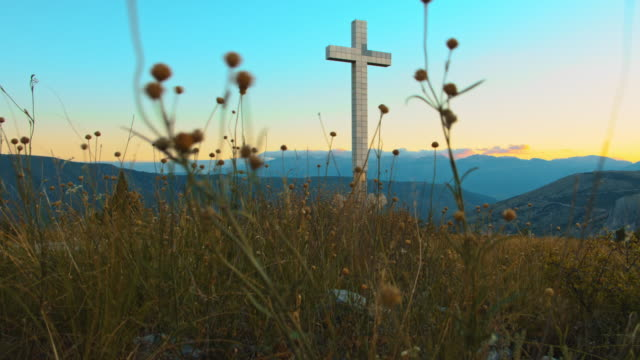 ws cross on the top of the mount hum in mostar - bosnia and hercegovina stock videos & royalty-free footage