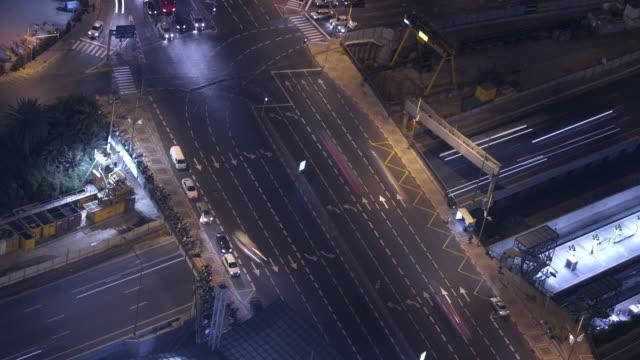 cross road at night - tel aviv stock videos & royalty-free footage