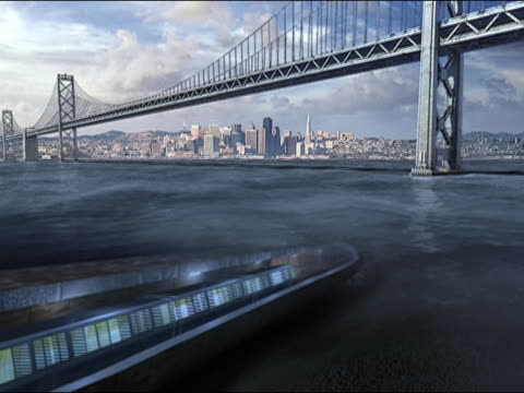 CGI Cross section of subway train traveling through tunnel under river towards city