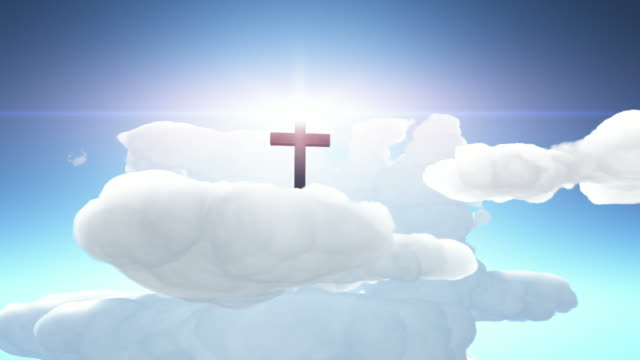 cross silhouette and god rays - christianity stock videos and b-roll footage