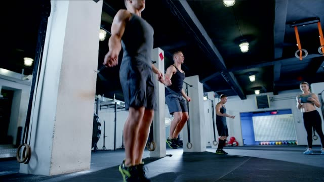 cross training with rope - skipping along stock videos & royalty-free footage