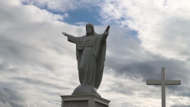 cross,christian wooden cross on sky blue background. - bangkok stock videos & royalty-free footage