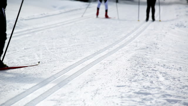 cross-country skiers on track medium shot - längd bildbanksvideor och videomaterial från bakom kulisserna